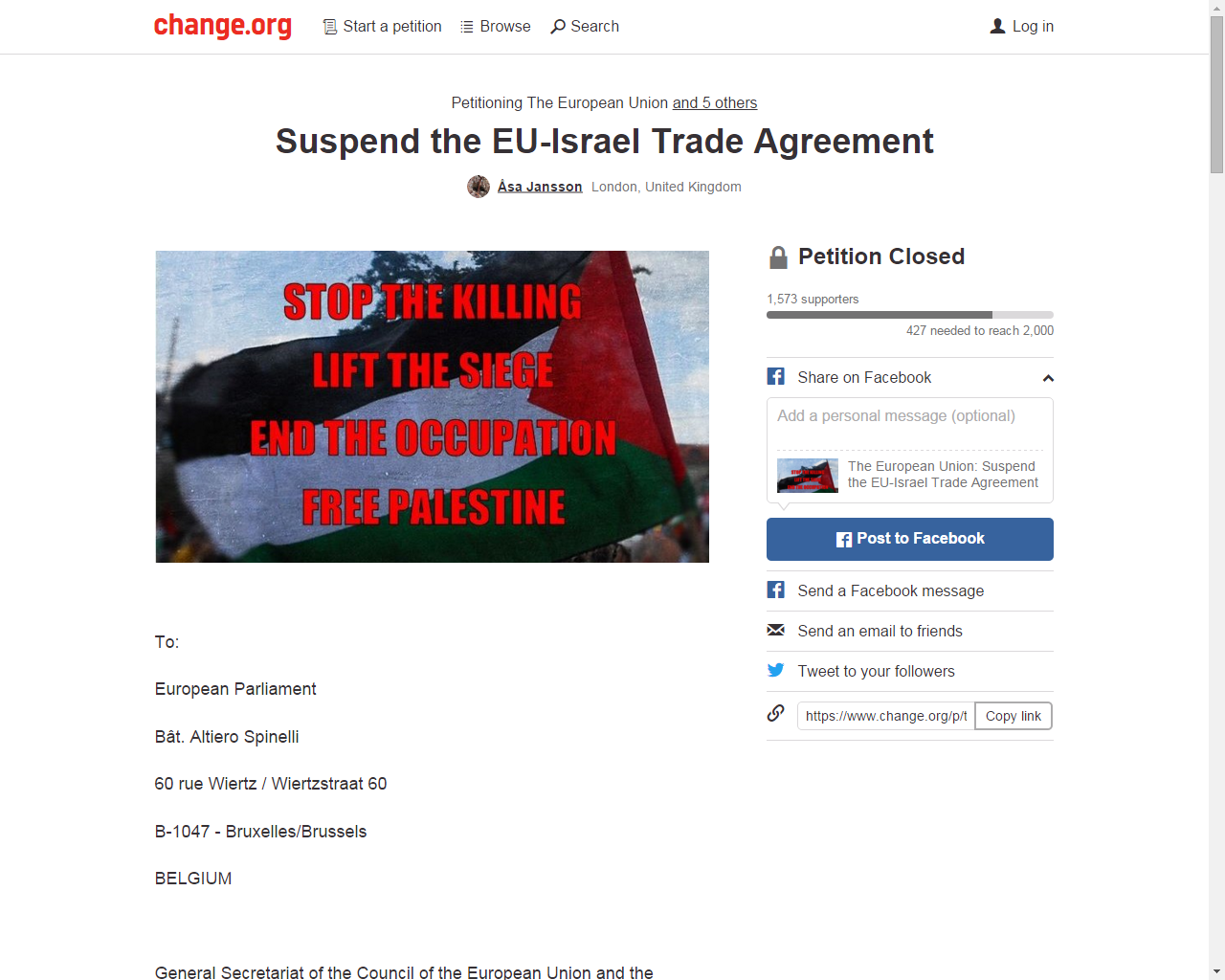MEP Petition BDS