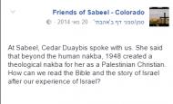 Screenshot, Sabeel Colorado's Facebook Page